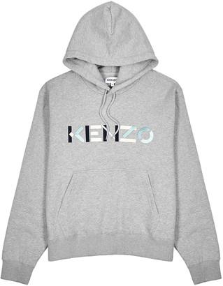 Kenzo Grey logo hooded cotton-jersey sweatshirt