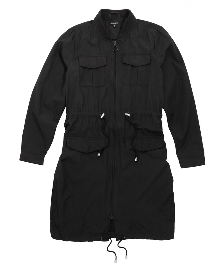 Thumbnail for your product : Brave Soul Women/Ladies Jacket Expert Ladies Showerproof Mac Ribbed Neck Detail Adjustable Waist Cord 100% Polyester (14) Black