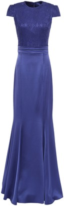 Safiyaa Lace-paneled Pleated Satin-crepe Gown