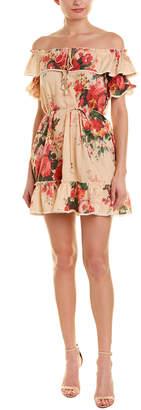 Few Moda Off-The-Shoulder Linen-Blend Mini Dress