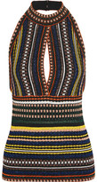 Missoni Metallic Ribbed Crochet-knit Halterneck Top - Blue