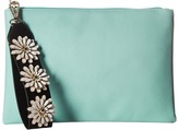 Jessica McClintock Gigi Flower Applique Pouch Clutch Clutch Handbags