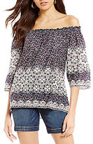KUT from the Kloth Bobby Off-The-Shoulder Embroidered Woven Top