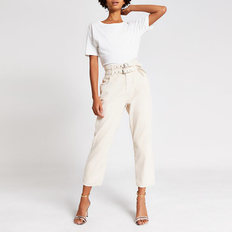 River Island Cream corduroy tapered belted trousers