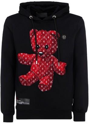 Philipp Plein Teddy Bear Logo Embroidered Hoodie