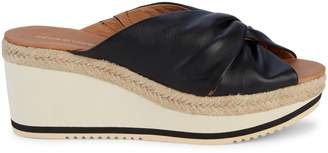 Andre Assous Prune Twisted Leather Wedge Sandals