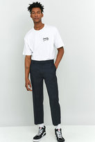Shore Leave By Urban Outfitters Rory Navy Pinstripe Skate Raw Cut Trousers