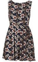 Dorothy Perkins Womens *Tenki Blue Floral Skater Dress- Blue
