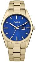 Oasis Women's Quartz Watch with Blue Dial Analogue Display and Gold Other Bracelet B1368