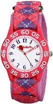 "Red Balloon Kids' W001885 ""Time Teacher"" Plastic Watch with Adjustable Argyle Nylon Strap"
