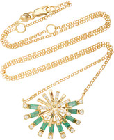 Carol Kauffmann Sunshine 18K Gold, Emerald and Diamond Necklace