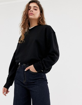 Weekday Huge cropped sweatshirt in black