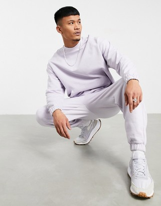 ASOS DESIGN organic tracksuit with oversized hoodie & oversized sweatpants in lilac