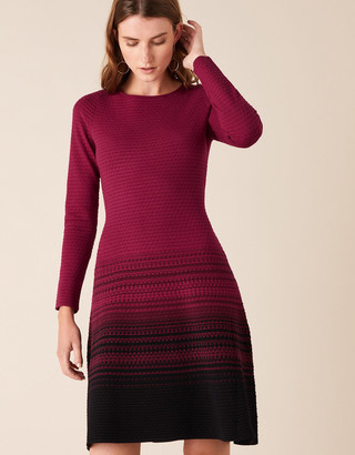 Monsoon Ombre Knit Dress with Sustainable Viscose Red