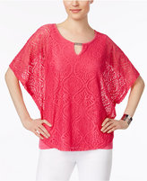 JM Collection Petite Lace Keyhole Poncho Top, Only at Macy's