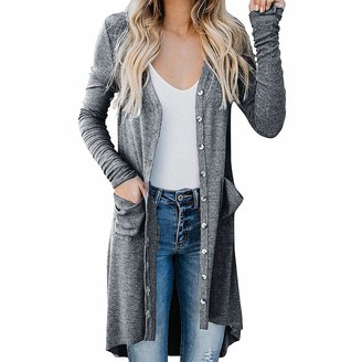 LOPILY Women Plus Size Open Cardigan Casual Autumn Winter Comfy Tunic Tops Long Sleeve Button Coat with Pocket(Gray.XXL)