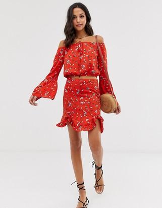 Vila floral ruffle skirt-Multi