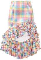 Caroline Constas Ruffled Asymmetric Checked Seersucker Skirt - Yellow