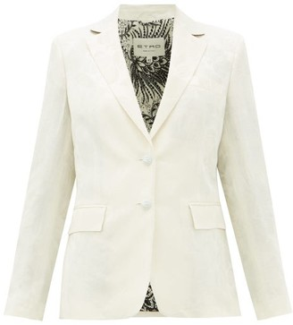 Etro Single-breasted Floral-jacquard Jacket - Womens - White