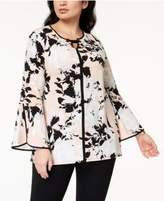 JM Collection Plus Size Printed Lantern-Sleeve Tunic, Created for Macy's