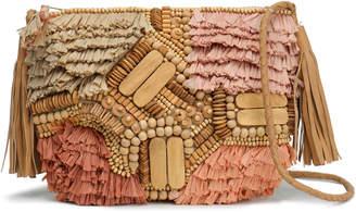 Antik Batik Tuk Embellished Leather, Cotton And Raffia Shoulder Bag