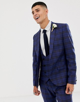 Twisted Tailor super skinny suit jacket with blue plaid check in wool