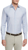 Ermenegildo Zegna Striped Long-Sleeve Sport Shirt, Blue