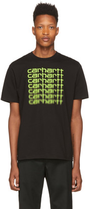 Carhartt Work In Progress Black and Green Fading Script T-Shirt