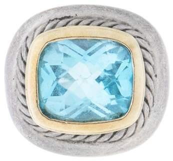 David Yurman Two Tone Aquamarine Ring Size 4.5