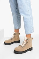 Thumbnail for your product : boohoo Wide Fit Fur Trim Lace Up Hiker Boots