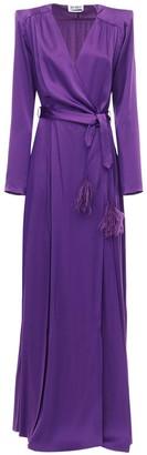 ATTICO Wrap Satin Long Dress W/ Feathers