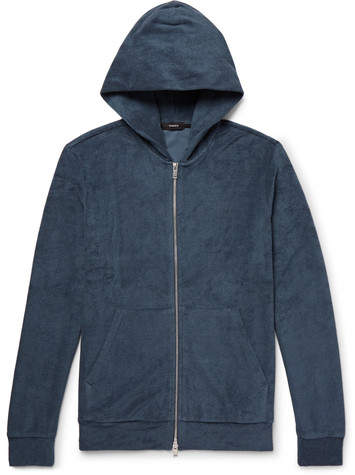 Theory Slim-fit Pima Cotton-terry Zip-up Hoodie - Storm blue
