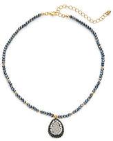 Dogeared Pave Teardrop Beaded Necklace