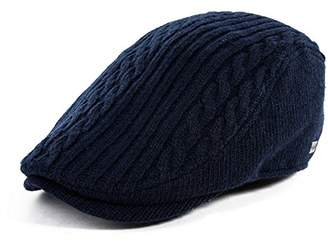 Jeff & Aimy Winter Wool Blend Knitted Flat Newsboy Cap Mens Fashion Casual Irish Gatsby Ivy Cabbie Golf Drivers Hat Adjustable 57-59CM Navy Blue
