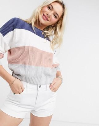 Hollister long sleeve stripe jumper in multi
