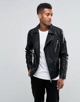 Jack & Jones Premium Leather Look Cross Zip Jacket