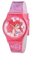 Disney Kids' W001207 Tween Ariel plastic case, printed purple plastic strap watch