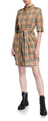 Burberry Giovanna Vintage-Checked Cotton Shirtdress