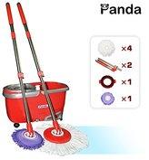 Panda Premium Effortless Wring Spin Mop and Bucket Set (2 Mop Rods + 4 Mop Heads)