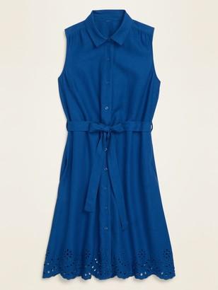 Old Navy Linen-Blend Sleeveless Tie-Belt Midi Shirt Dress for Women