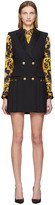 Versace Black Sleeveless Pleated Blazer Dress