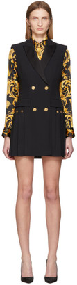 Versace Black Sleeveless Pleated Blazer Dress