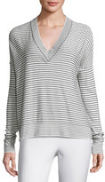 ATM Anthony Thomas Melillo Eased Striped V-Neck Pullover Sweater, White/Black