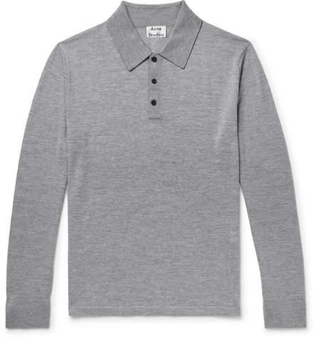 Acne Studios Slim-Fit Mélange Merino Wool Polo Shirt