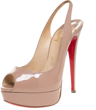 Christian Louboutin Beige Patent Leather Lady Peep Toe Slingback Platform Sandals Size 38.5