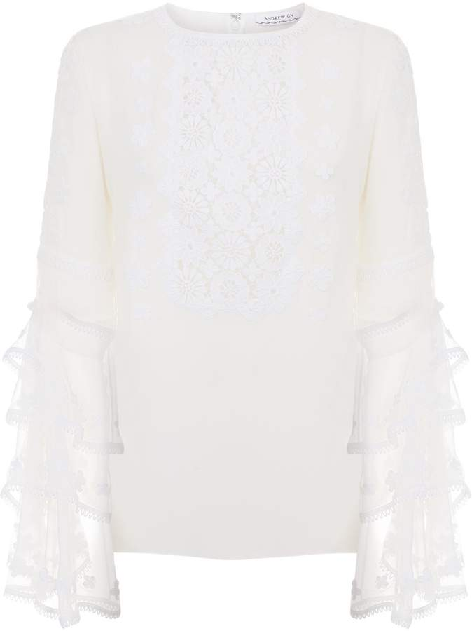 Andrew Gn Silk Tiered Embroidered Sleeve Blouse