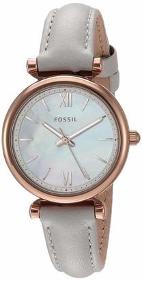 Fossil Women's Carlie Mini Quartz Leather Three-Hand Watch