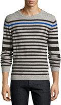 Diesel Striped Cotton-Blend Pullover Sweater, Dark Gray
