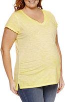 A.N.A a.n.a Short Sleeve V Neck T-Shirt-Womens Plus Maternity