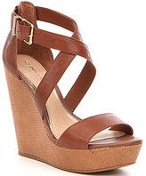 Gianni Bini Scottiee Leather Wedge Sandals